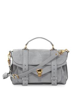 Proenza Schouler PS1 Medium Leather Satchel Bag, Light Gray