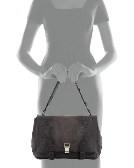 PS Courier Lizard-Print Shoulder Bag, Black