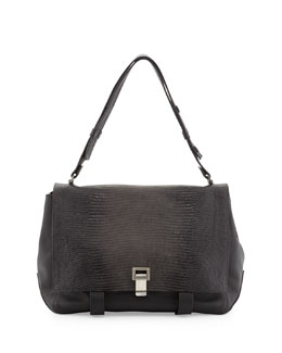 Proenza Schouler PS Courier Large Lizard-Print Shoulder Bag, Black