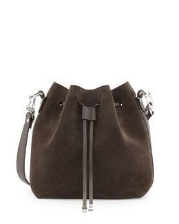Proenza Schouler Suede Large Bucket Shoulder Bag, Gray
