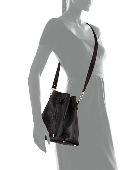 Pebbled Bucket Crossbody Bag, Black