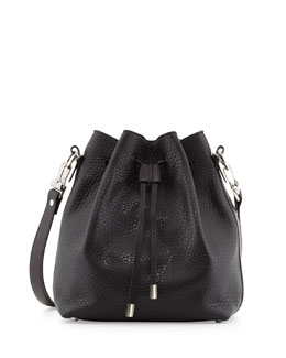 Proenza Schouler Pebbled Bucket Shoulder Bag, Black