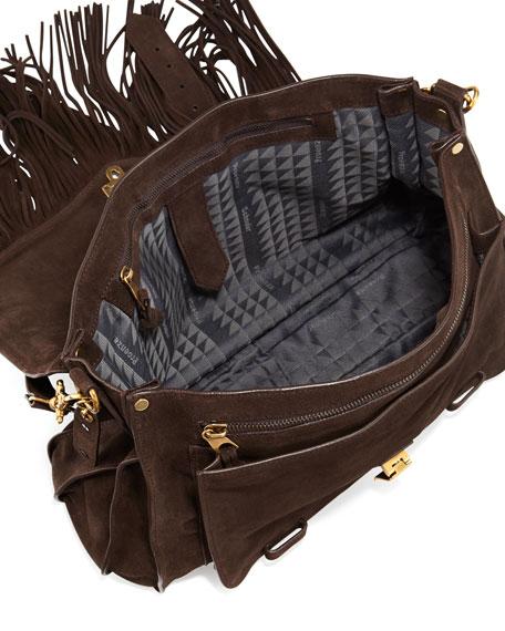 PS1 Suede Fringe Runner Shoulder Bag, Brown