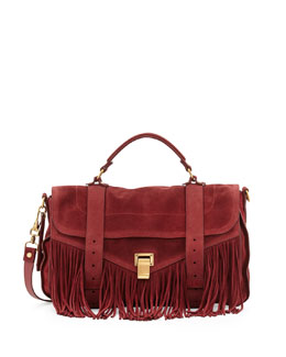 Proenza Schouler PS1 Medium Suede Fringe Satchel Bag, Red