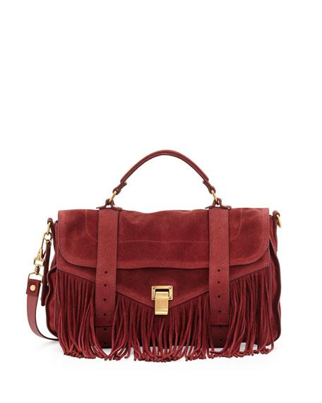 PS1 Medium Suede Fringe Satchel Bag, Red
