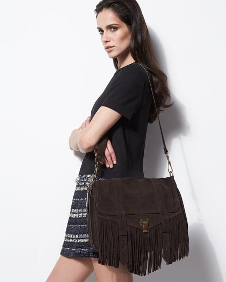 PS1 Suede Fringe Shoulder Bag, Brown