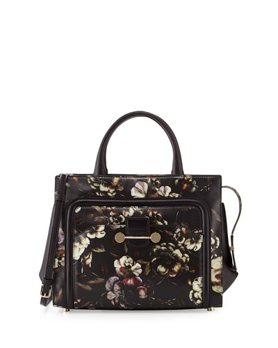 Daphne Floral-Print Leather Crossbody Bag