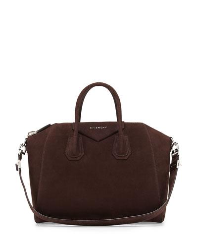 Givenchy Antigona Small Nubuck Satchel Bag, Brown