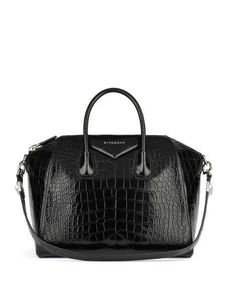 Antigona Medium Genuine Crocodile Satchel Bag, Black by Givenchy