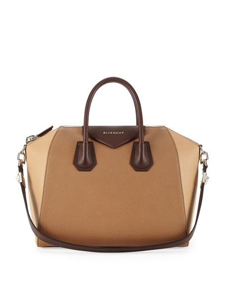 Antigona Medium Leather Satchel Bag, Camel