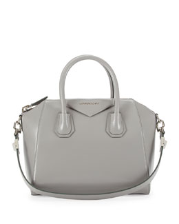 Givenchy Antigona Box Calf Satchel Bag, Gray