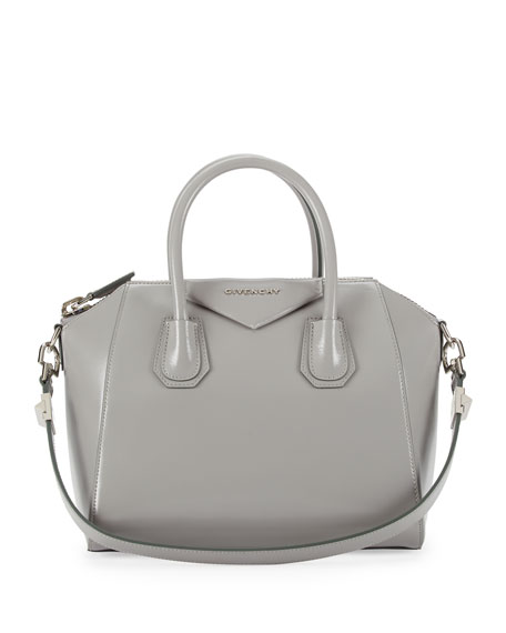Antigona Small Leather Satchel Bag, Pearl Gray