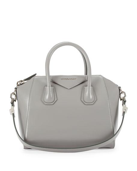 Antigona Small Leather Satchel Bag, Pearl Gray