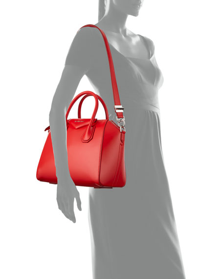 Antigona Small Leather Satchel Bag, Red
