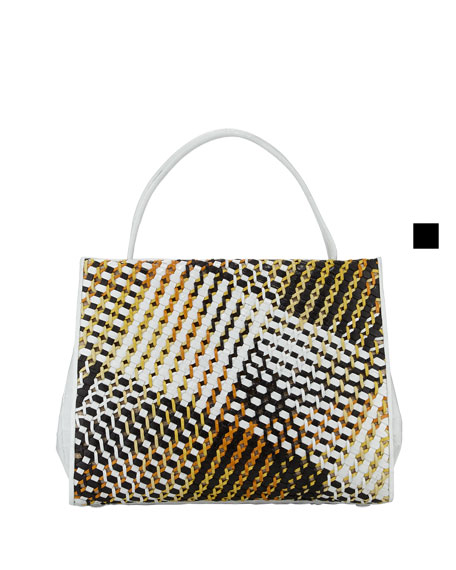 Wallis Woven-Front Framed Crocodile Tote Bag, Yellow/White
