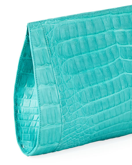 Woven-Front Crocodile Clutch Bag, Turquoise