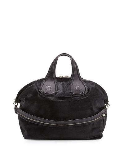 Givenchy Nightingale Medium Calf Hair Satchel Bag, Black