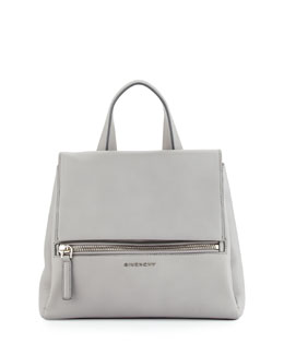 Givenchy Pandora Small Waxy Leather Satchel Bag, Gray