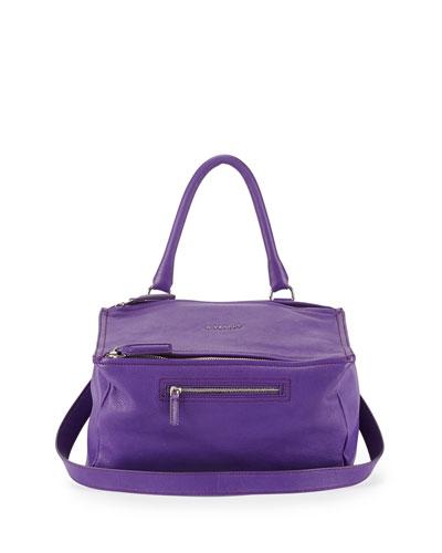 Pandora Medium Leather Shoulder Bag, Purple