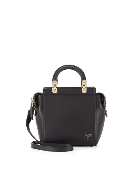HDG Top-Handle Mini Leather Crossbody Bag, Black