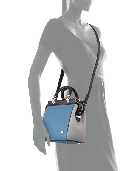 HDG Top-Handle Mini Goat Leather Crossbody Bag, Black/Blue/Gray