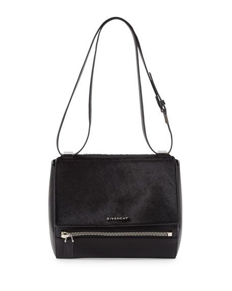 Pandora Box Medium Leather Shoulder Bag, Black