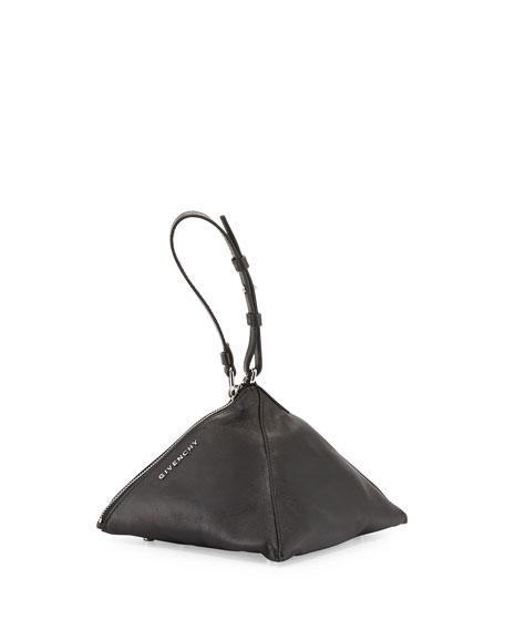 Triangle Mini Nappa Leather and Studs Wristlet, Black