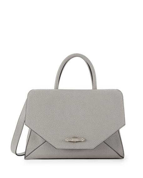 Obsedia Top Handle Medium Leather Satchel Bag, Pearl Gray