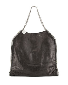 Stella McCartney Falabella Large Faux-Python Tote Bag, Black