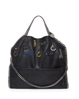 Stella McCartney Falabella Fold-Over Crystal Shoulder Bag, Black