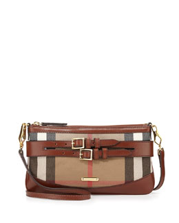 Burberry Leather & Check Crossbody Bag, Dark Tan