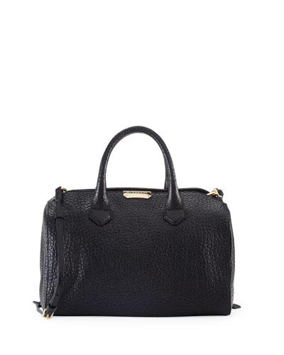 Burberry Pebbled Leather Satchel Bag, Black