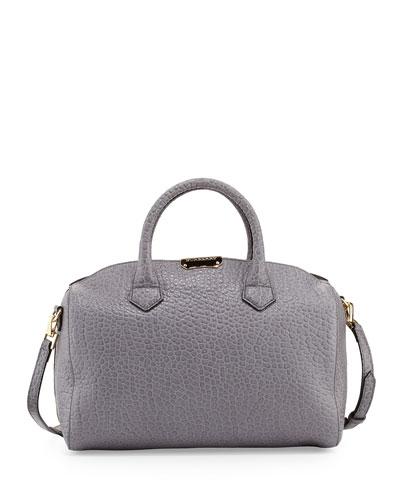 Burberry Pebbled Leather Satchel Bag, Gray Melange