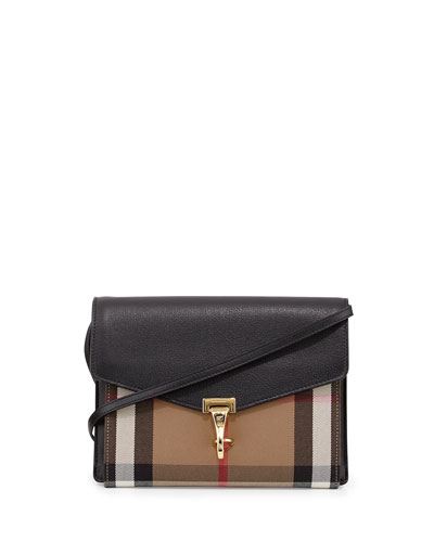 Small Leather & Check Crossbody Bag, Black