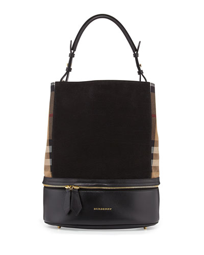 Burberry Leather & Check Canvas Bucket Bag, Black