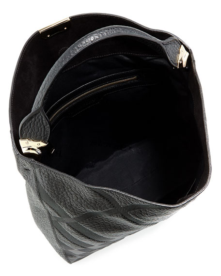 Check-Embossed Leather Hobo Bag, Black