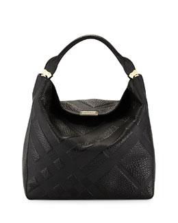 Burberry Check-Embossed Leather Hobo Bag, Black