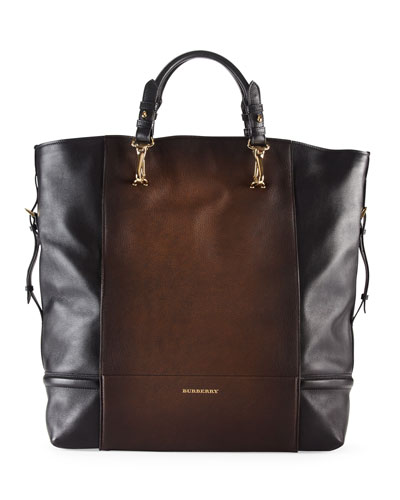 Burberry Burnished Leather Tote Bag, Mid Camel