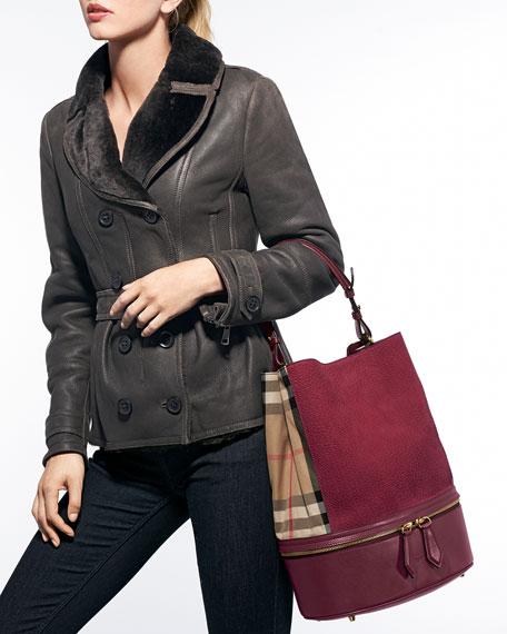 a6df8fe4d Burberry Leather & Check Canvas Bucket Bag, Deep Claret