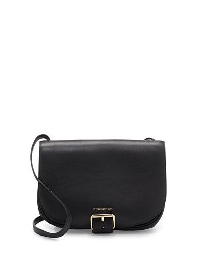 Burberry Buckled Leather Saddle Bag, Black