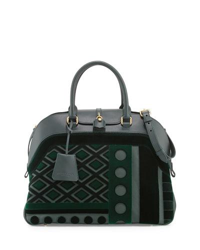 Burberry Geometric Leather/Velvet Satchel Bag, Dark Bottle Green