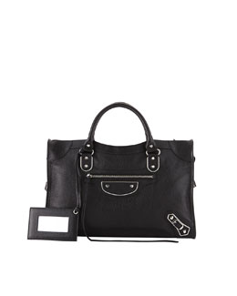 Balenciaga Metallic Edge Classic City Bag, Black
