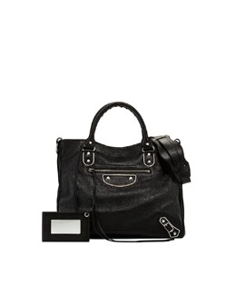 Balenciaga Classic Glossy Leather Velo Bag, Black
