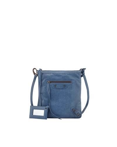 Balenciaga Classic Flat Crossbody Bag, Denim Blue