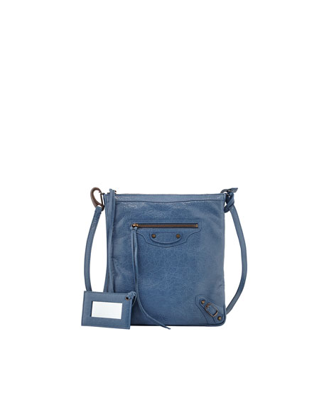 Classic Flat Crossbody Bag, Denim Blue