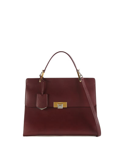 Balenciaga Le Dix Cartable Flap Satchel Bag, Aubergine