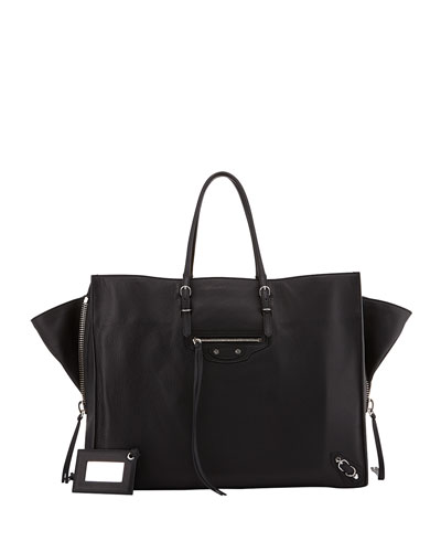 Balenciaga Papier A4 Side Zip Leather Tote Bag, Black