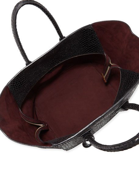 Cavendish Boston Faux-Python Tote Bag, Black