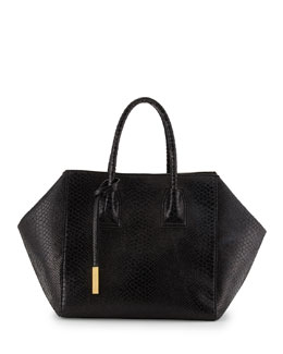 Stella McCartney Cavendish Boston Faux-Python Tote Bag, Black