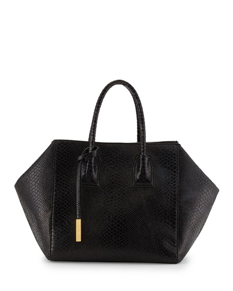 Cavendish Boston Faux-Python Tote Bag, Black